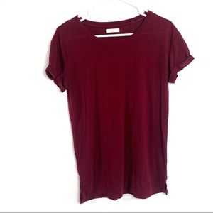 Awake maroon rolled hem short sleeve tee